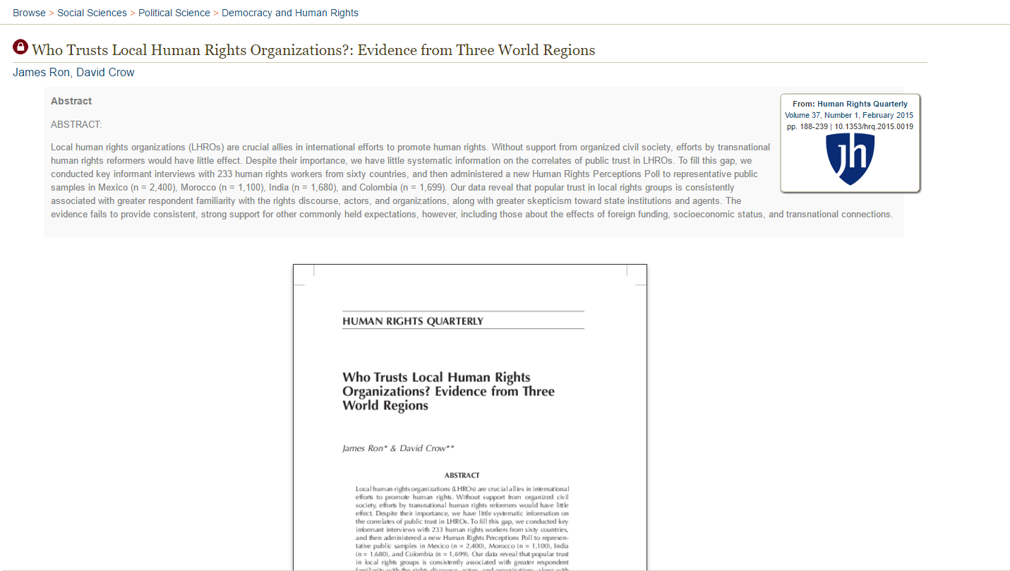 """Who Trusts Local Human Rights Organizations? Evidence from Three World Regions,"" Human Rights Quarterly (Feb 2015)"